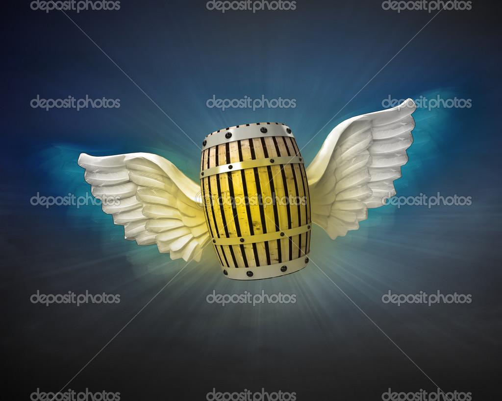 Getränke Fass mit Engel Flügel — Stockfoto © Adikk #42648779