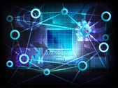 Notebook v obchodní svět přenos sítě vektoru