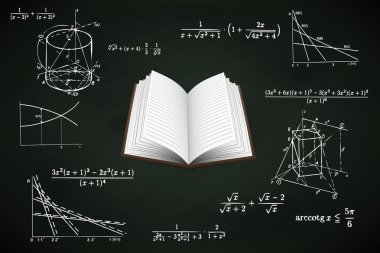open book on blackboard with math calculations vector