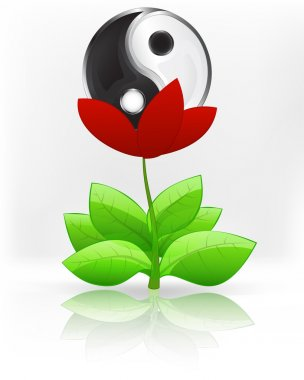 Balance sign in red flower blossom