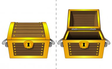 Isolated closed adn open wooden gold chest vector illustration stock vector