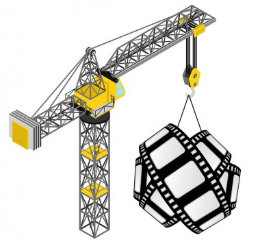 Movie tape hanged on isolated crane drawing vector
