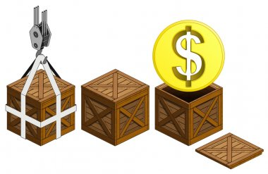 Golden Dollar coin in open wooden crate packing collection vector illustration icon
