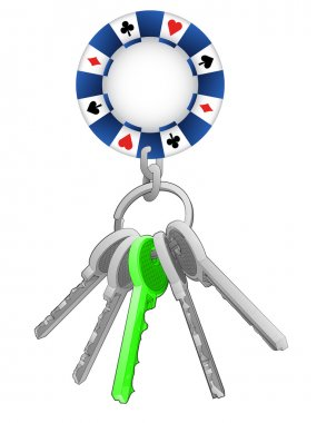 Poker chip on key ring