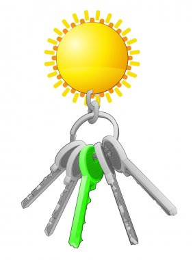 Golden sun on key ring with green one