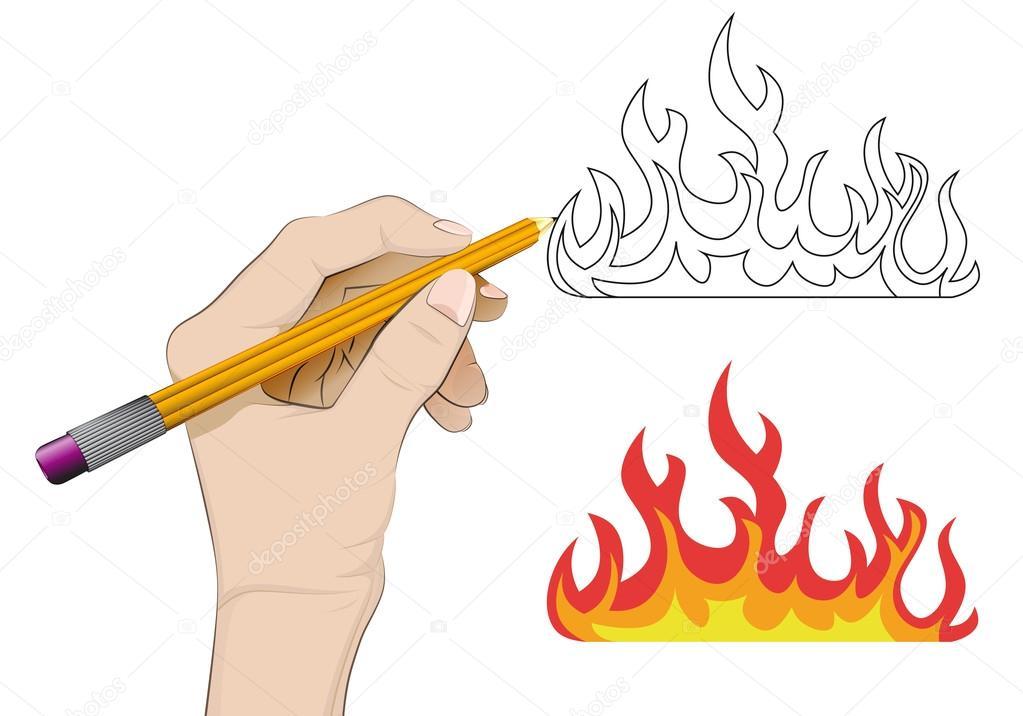 Extremamente chamas de fogo como desenho vetorial mão humana isolada — Vetores  HW23