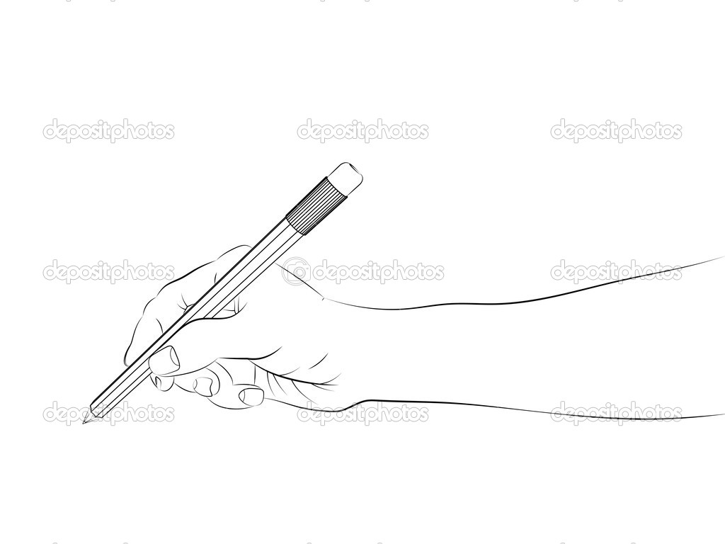 Isolated human hand side view holding pencil sketch vector stock vector