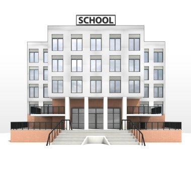 modern school building design front facade view