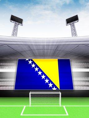 Bosnia flag banner in modern football stadium