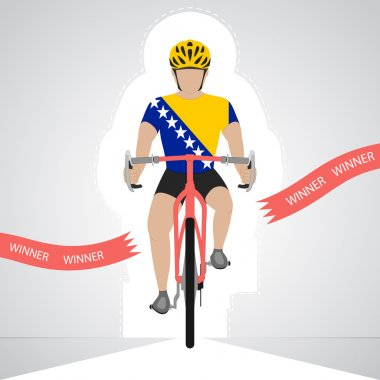 Bosnian cyclist in front view crossing red finish line vector isolated