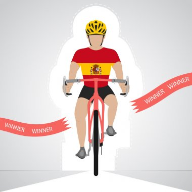 Spanish cyclist in front view crossing red finish line vector isolated