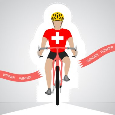 Swiss cyclist in front view crossing red finish line vector isolated