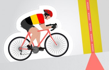Belgian cyclist riding upwards to finish line vector isolated