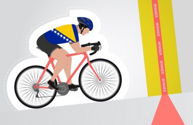 Bosnian cyclist riding upwards to finish line vector isolated
