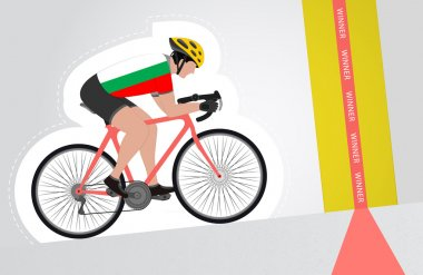 Bulgarian cyclist riding upwards to finish line vector isolated