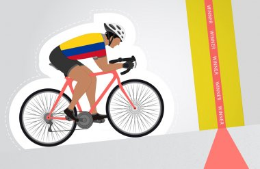 Colombian cyclist riding upwards to finish line vector isolated