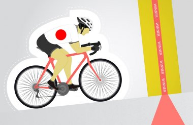 Japanese cyclist riding upwards to finish line vector isolated