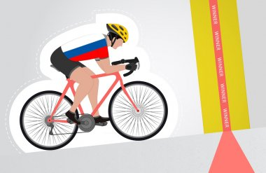 Russian cyclist riding upwards to finish line vector isolated