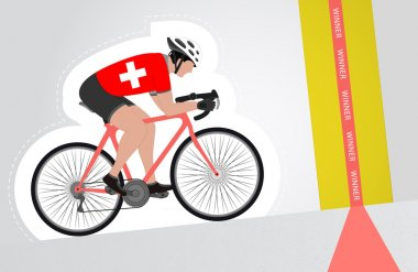 Swiss cyclist riding upwards to finish line vector isolated
