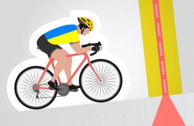 Ukrainian cyclist riding upwards to finish line vector isolated