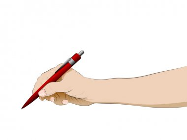 isolated human hand side view holding ballpoint vector