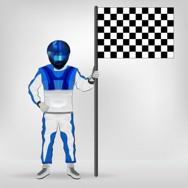 blue overall standing racer holding checked flag vector