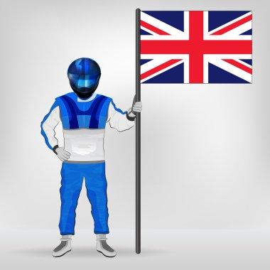 standing racer holding British flag vector