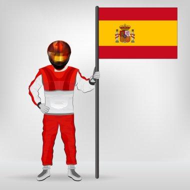 standing racer holding Spanish flag vector