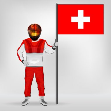 standing racer holding Switzerland flag vector