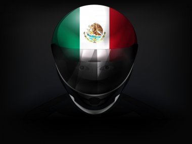 Mexican racer with flag on helmet vector closeup