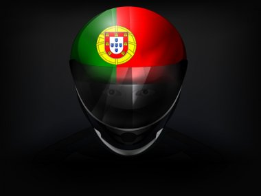 Portuguese racer with flag on helmet vector closeup