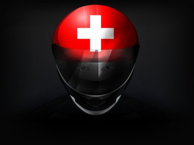 Swiss racer with flag on helmet vector closeup