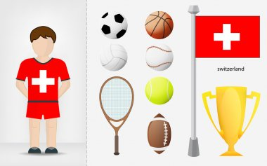 Swiss sportsman with sport equipment collection vector