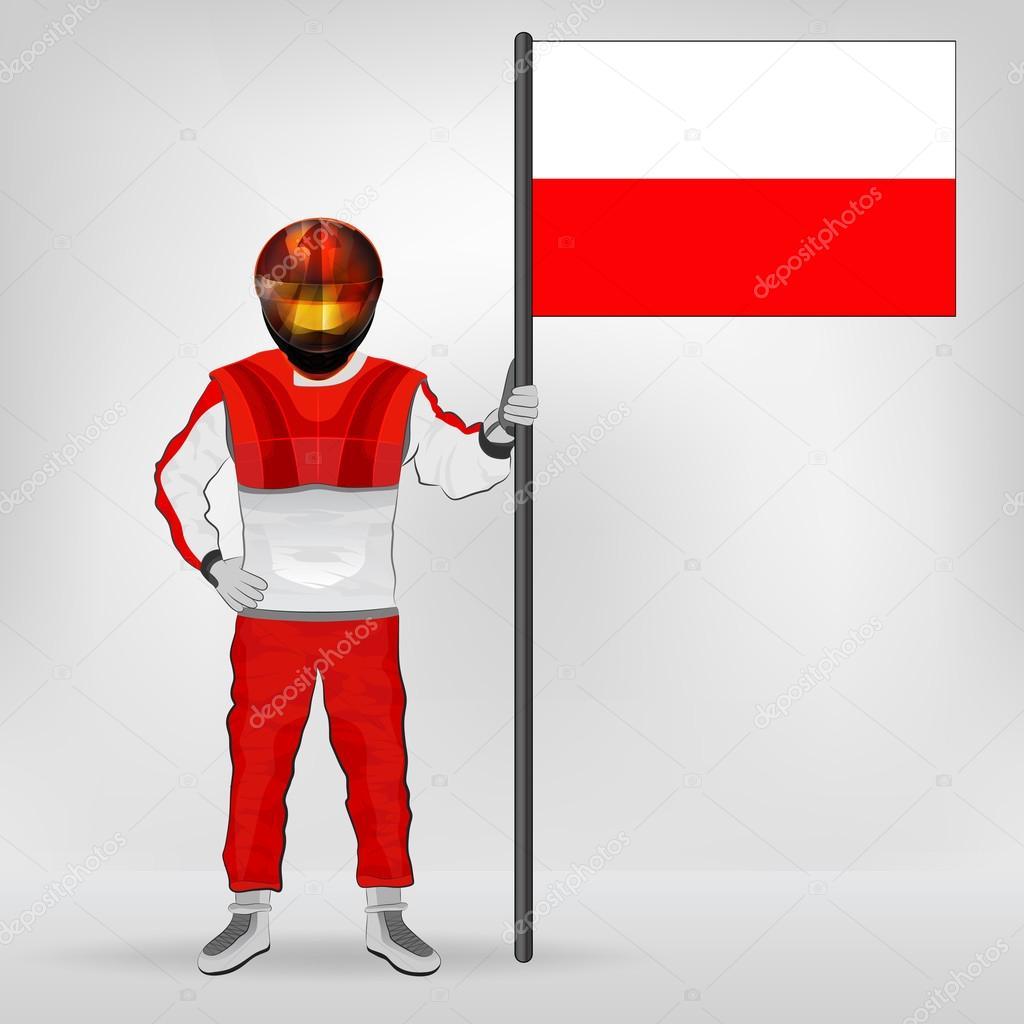 standing racer holding polish flag vector u2014 stock vector adikk