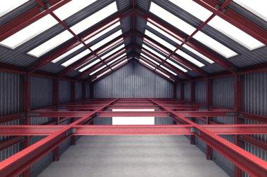 Red steel industrial building