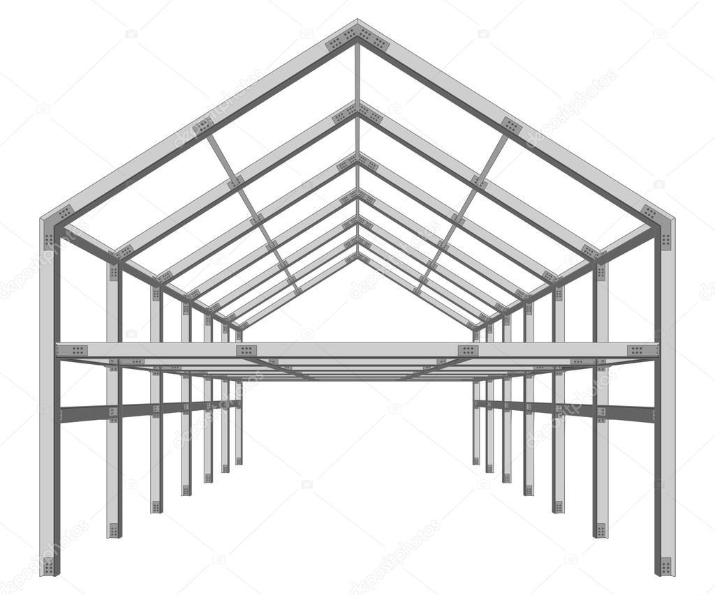 Gebäude Europäische Unternehmerregion Stahlrahmen — Stockvektor ...