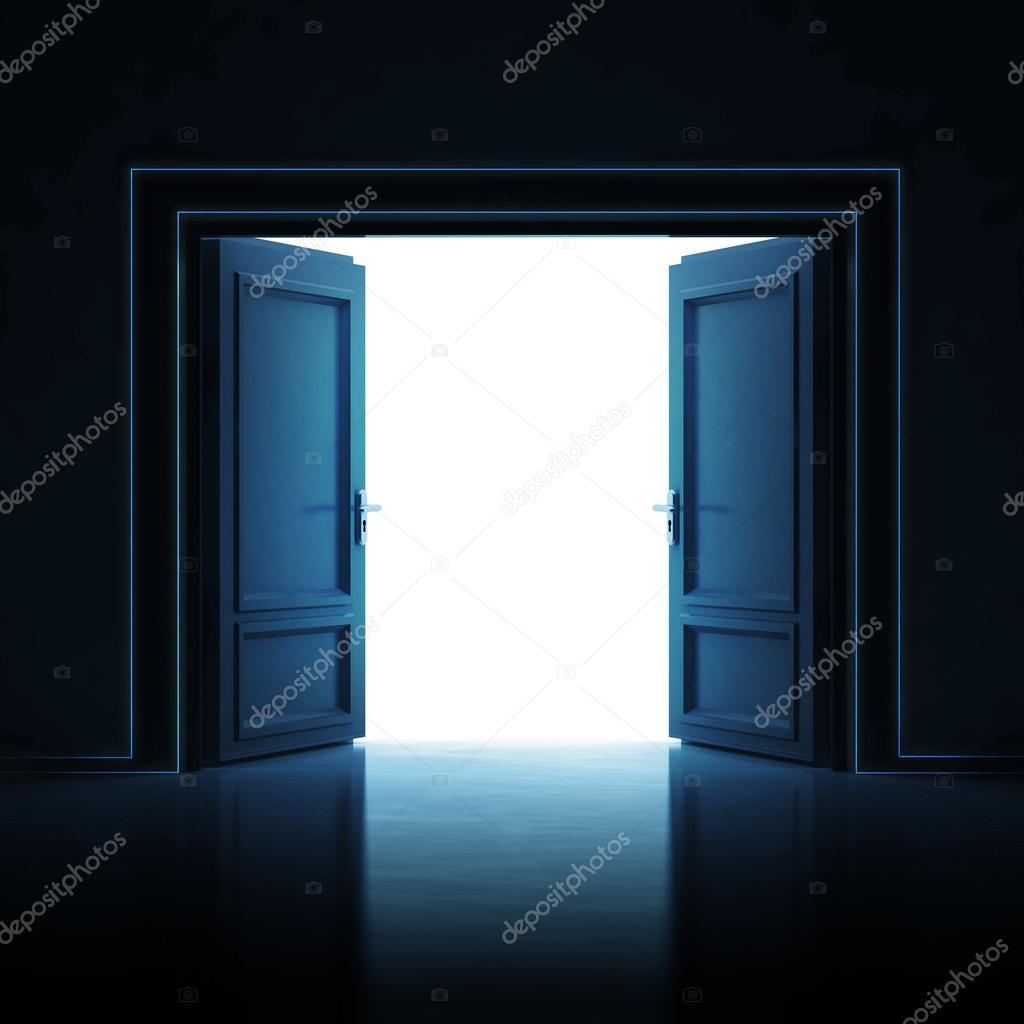 Double porte ouverte dans l 39 obscurit la lumi re salle for Porte ouverte