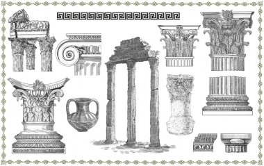 Old greek set illustration
