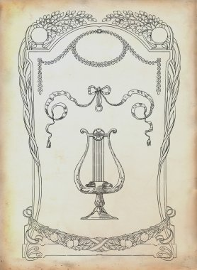 Silhouette lyre illustration