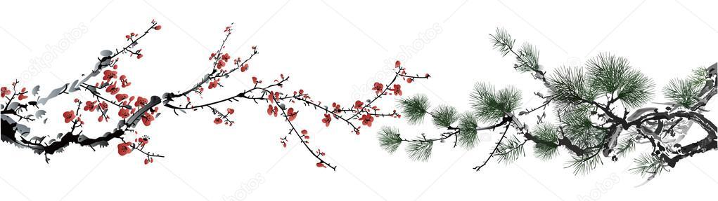 Winter sweet and pine tree