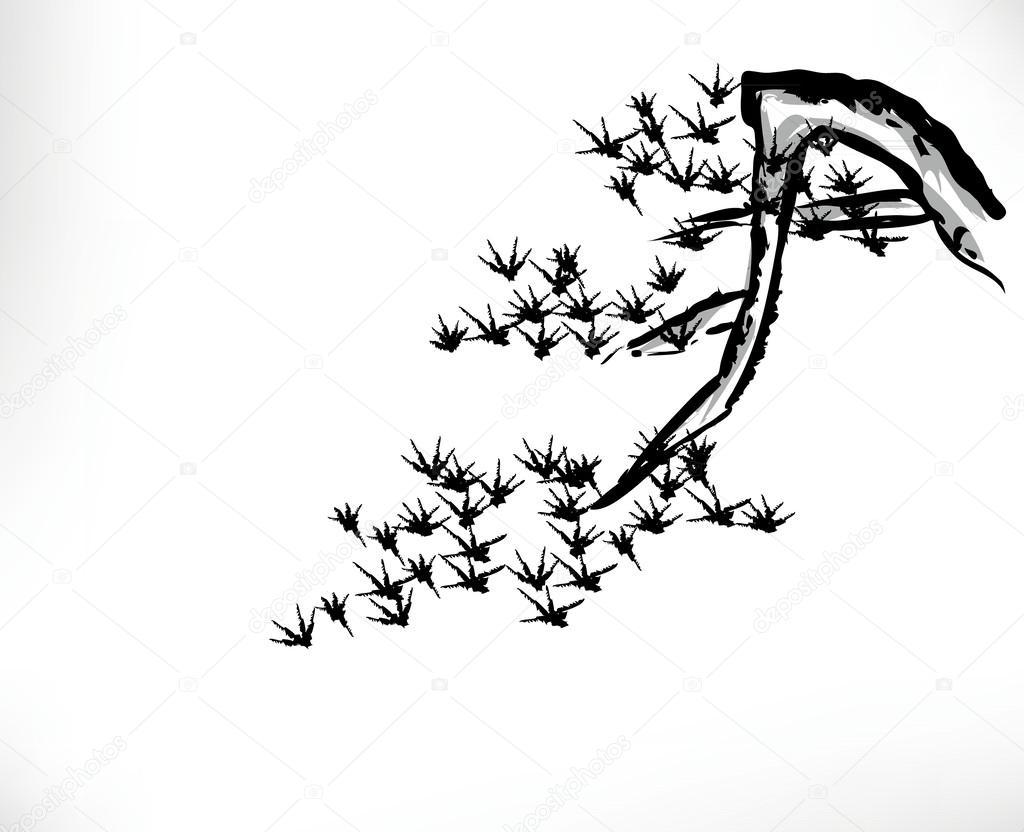 Mürekkep Boyama çam Ağacı Stok Vektör Baoyan 51398319