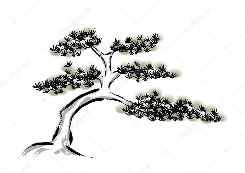 Mürekkep Boyama çam Ağacı Stok Vektör Baoyan 51398355