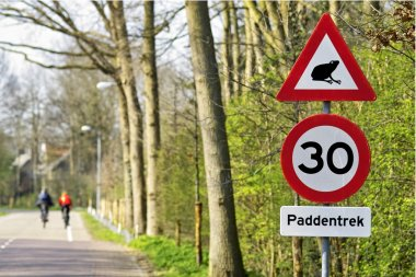 Road signs with cyclists in the background