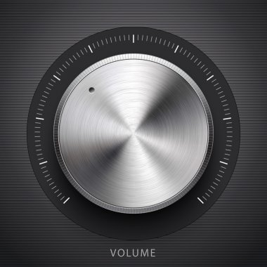 Abstract technology music button (volume settings banner, sound control knob) with metal texture (stainless steel, chrome, silver), realistic shadow and dark background for internet sites, web user interfaces (ui) and applications (app). Vector. clip art vector