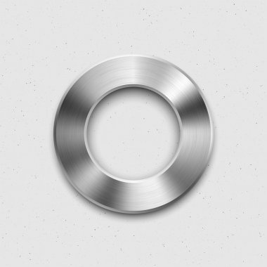 Abstract technology music button (volume banner, sound control knob) with metal texture (steel, chrome, silver), shadow and light background for web user interfaces (UI) and applications (apps). clip art vector