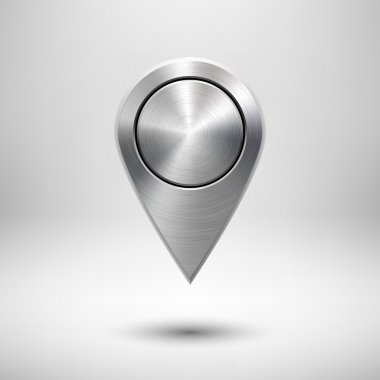 Technology Map Pointer Button with Metal Texture