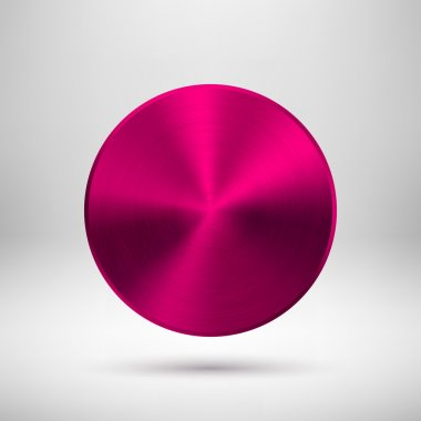 Magenta Abstract Circle Button with Metal Texture