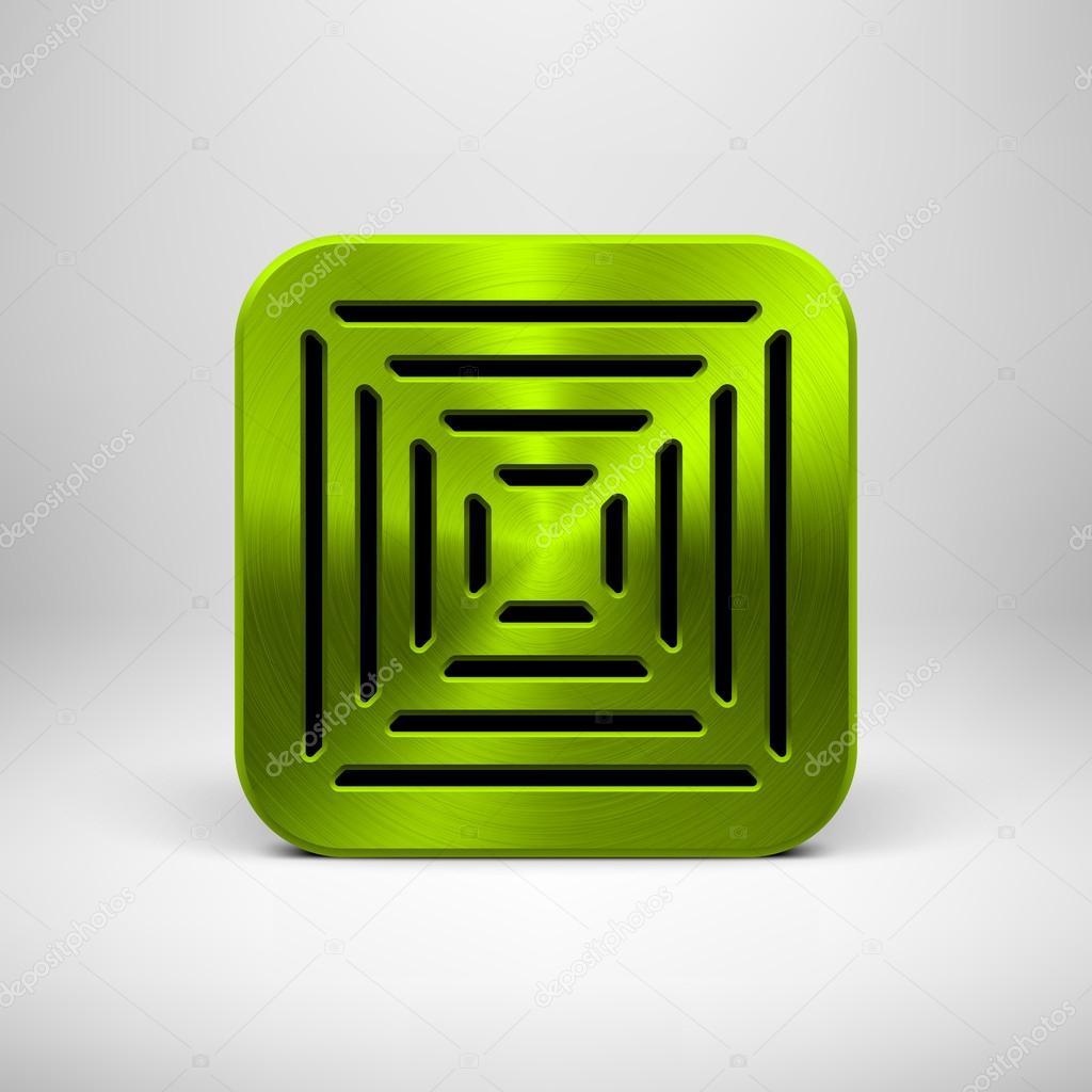 plantilla de icono de app verde con textura de metal — Vector de ...