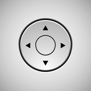 White abstract joystick button template with arrows and light background. stock vector