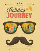 Fotografie typografii plakát, sluneční brýle s dominantou budovy reflexe a knír. Dovolená cesta
